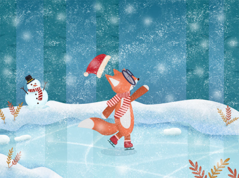 Ice-Skating-Time Beautifully designed winter illustration examples for you