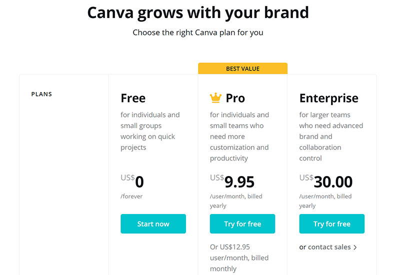 canva-pricing Canva vs Adobe Spark. Which one should you use?