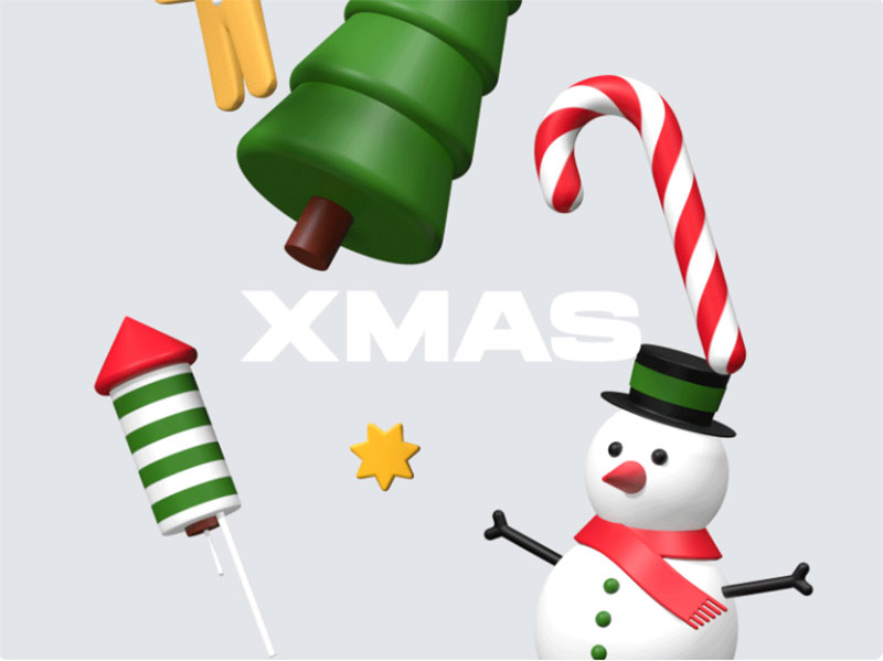 Xmas-3d-icons Christmas illustration examples that look amazing