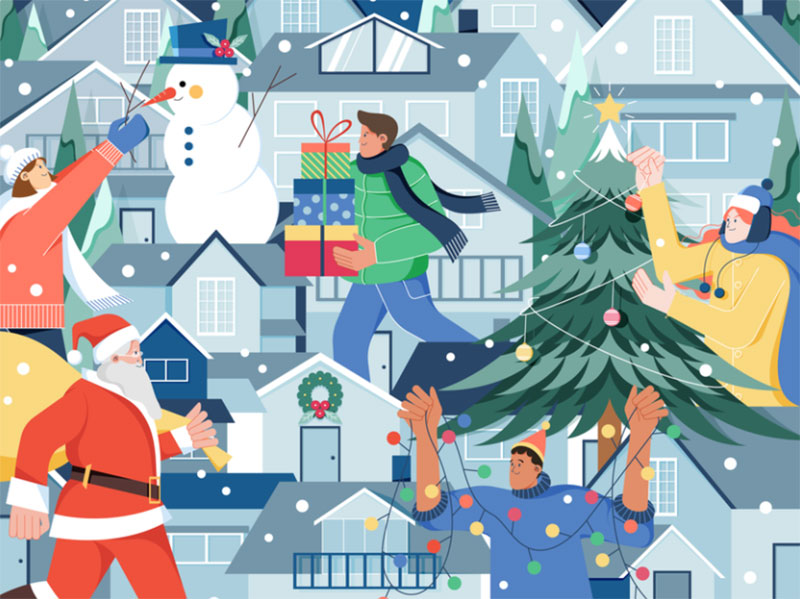 Happy-Holiday Christmas illustration examples that look amazing