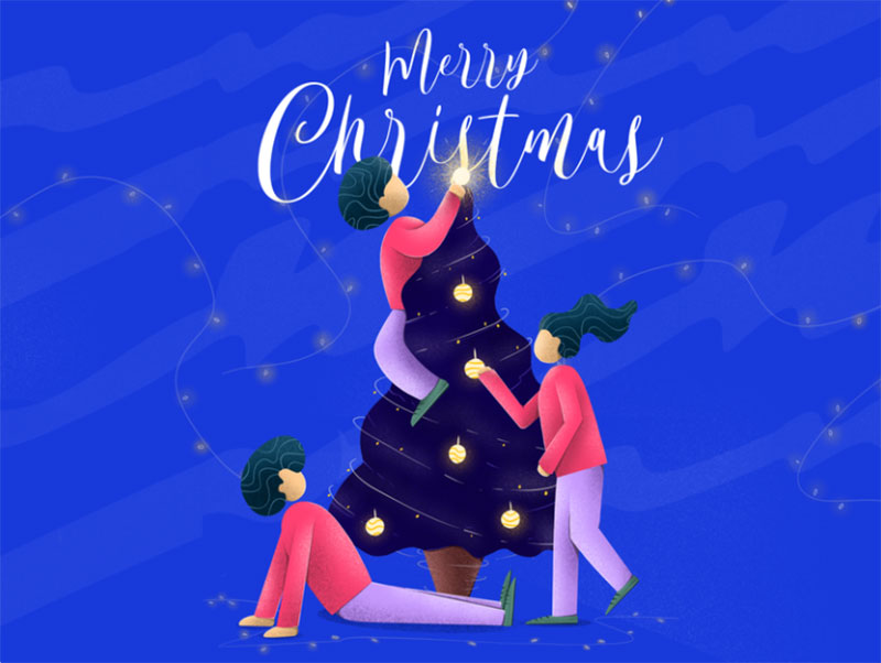 Merry-Christmas-Dribbble-Family Christmas illustration examples that look amazing