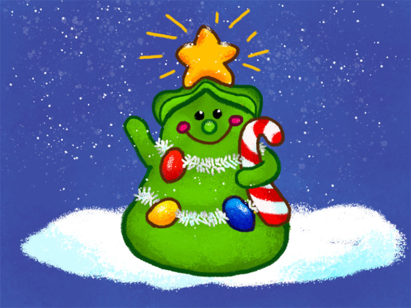 Merry-Christmas-Bean-Tree Christmas illustration examples that look amazing
