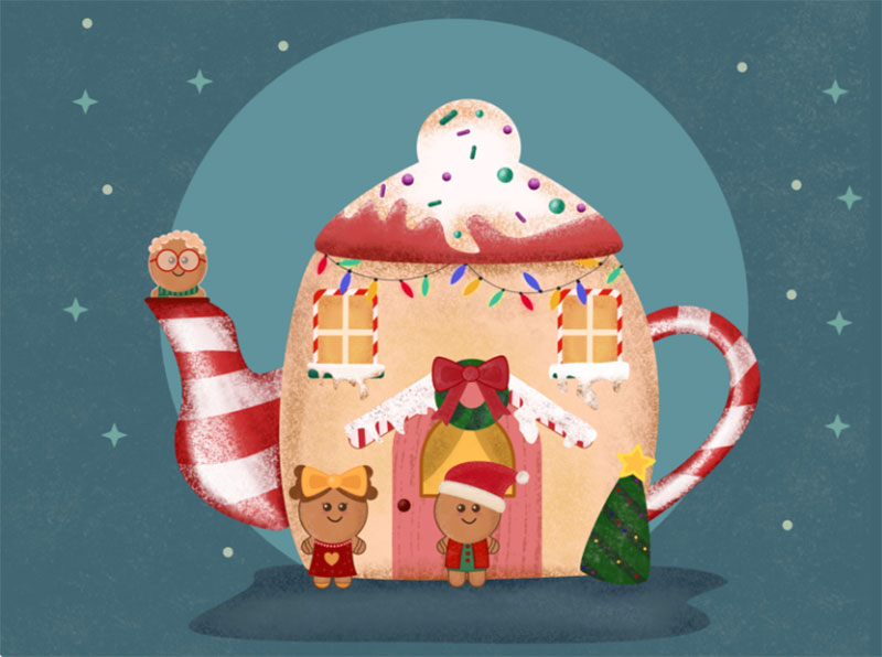 Teacup-Christmas-House Christmas illustration examples that look amazing