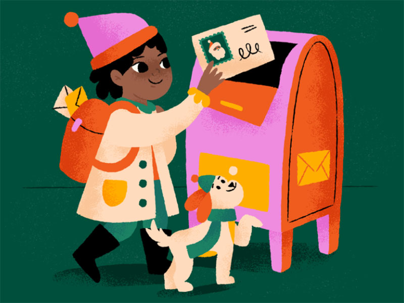 Mailing-a-note-to-Santa Christmas illustration examples that look amazing