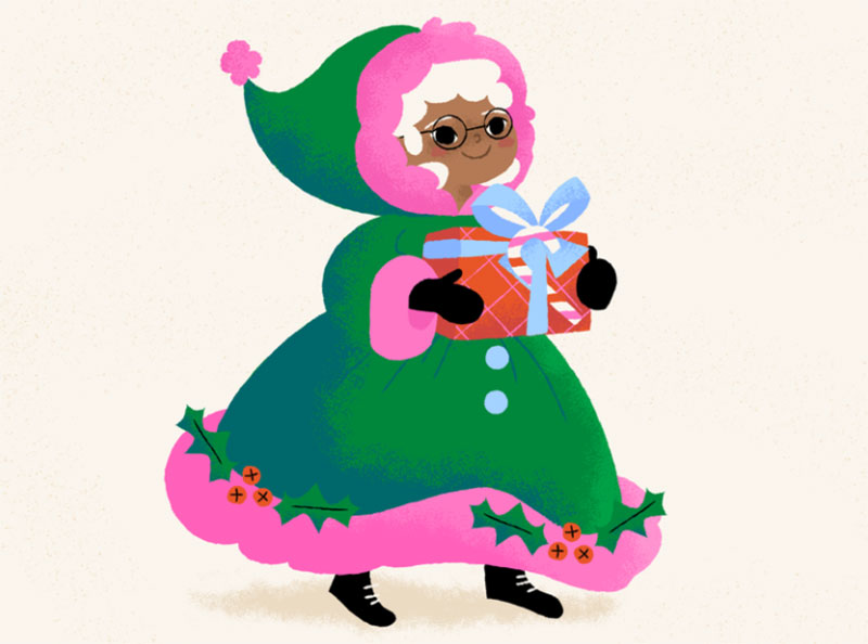 Mrs.-Claus-is-cozy Christmas illustration examples that look amazing