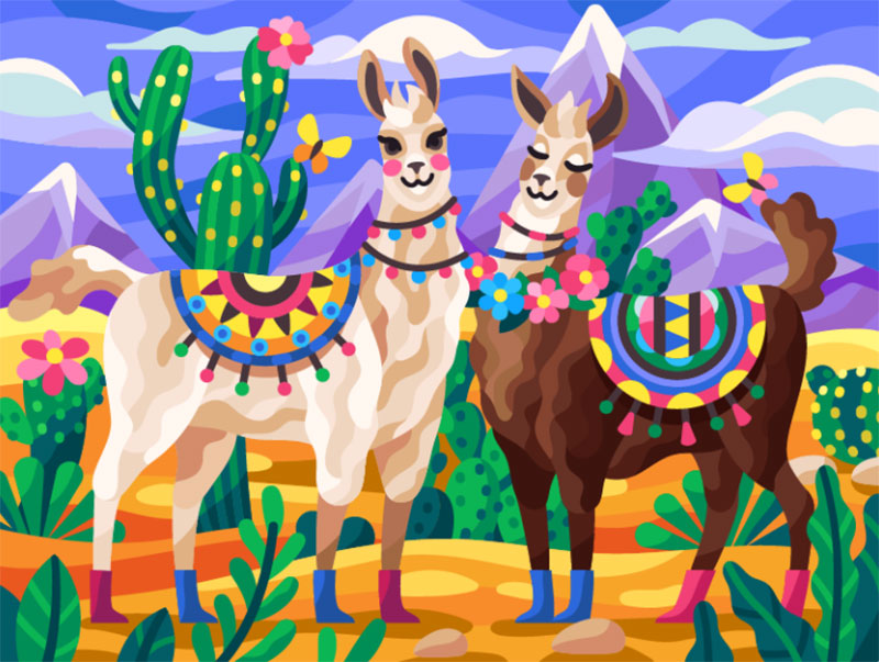 Llamas Dreamy spring illustration examples you must see
