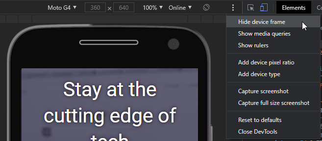 mobile phone simulator device toolbar