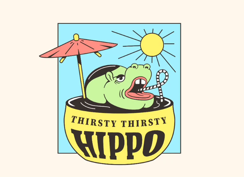 More-Thirsty-Hippo. Lovely summer illustration examples to check out