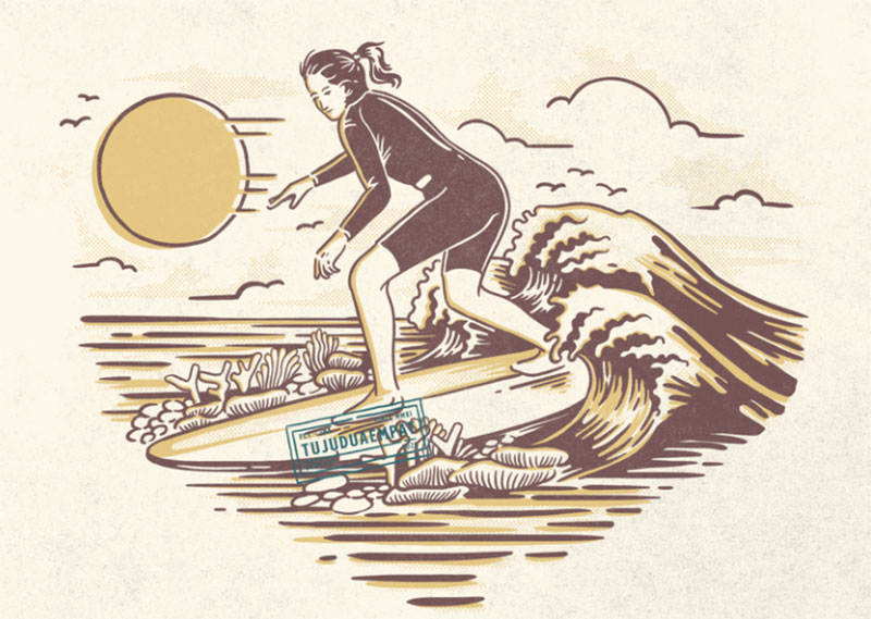 Surfer-Girl-Riding Lovely summer illustration examples to check out