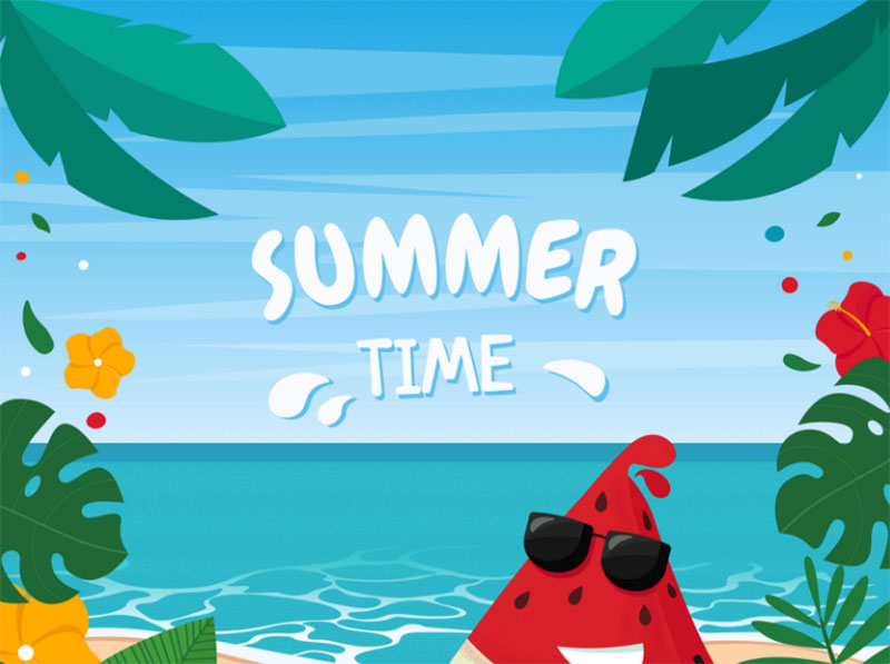 Cute-Watermelon-on-beach-landscape Lovely summer illustration examples to check out
