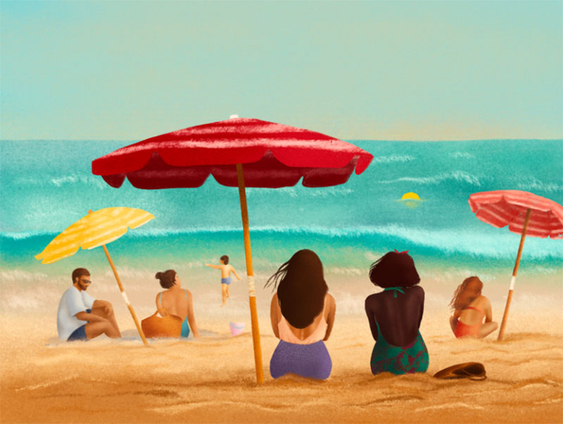 Day-on-a-beach Lovely summer illustration examples to check out