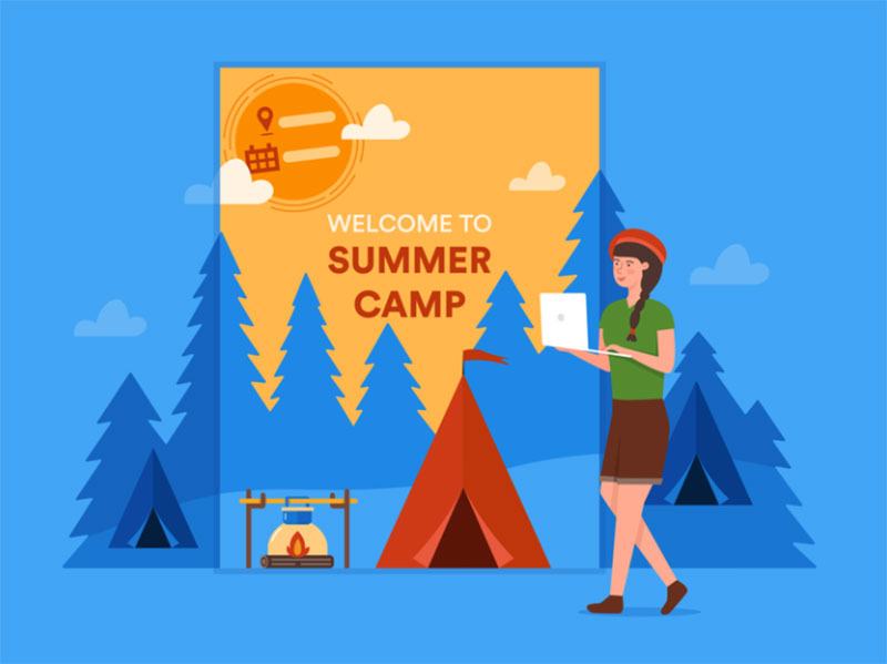 summer-camp-flyer-templates Lovely summer illustration examples to check out