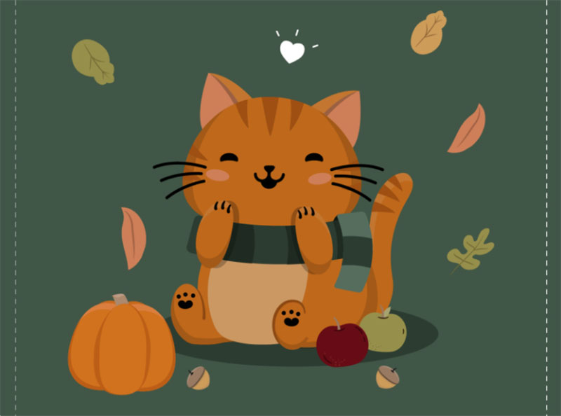 Gratitude-Kitty Thanksgiving illustration examples that are great