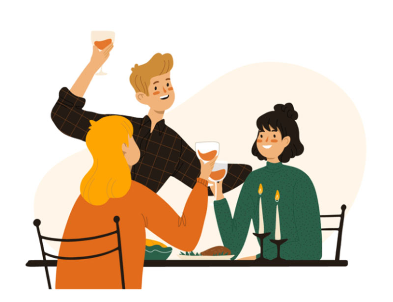 Dinner-with-friends Thanksgiving illustration examples that are great