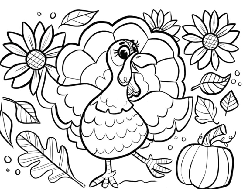 Happy-Turkey-Coloring-Page-2020 Thanksgiving illustration examples that are great
