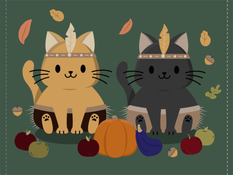 Native-Kitties Thanksgiving illustration examples that are great