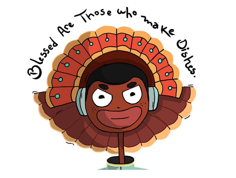 happy-thanksgiving-with-Funny-pilgrim-Turkey-in-qurrantine Thanksgiving illustration examples that are great