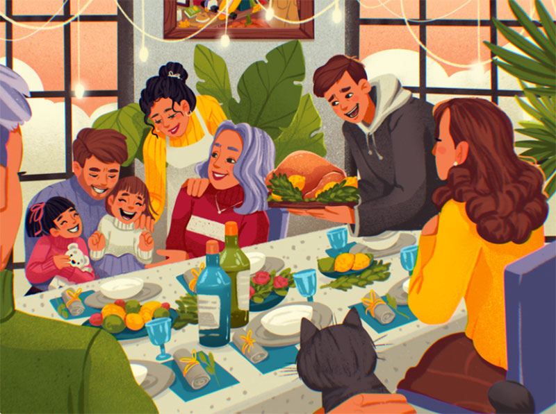 Thanksgiving-Dinner-Illustration Thanksgiving illustration examples that are great