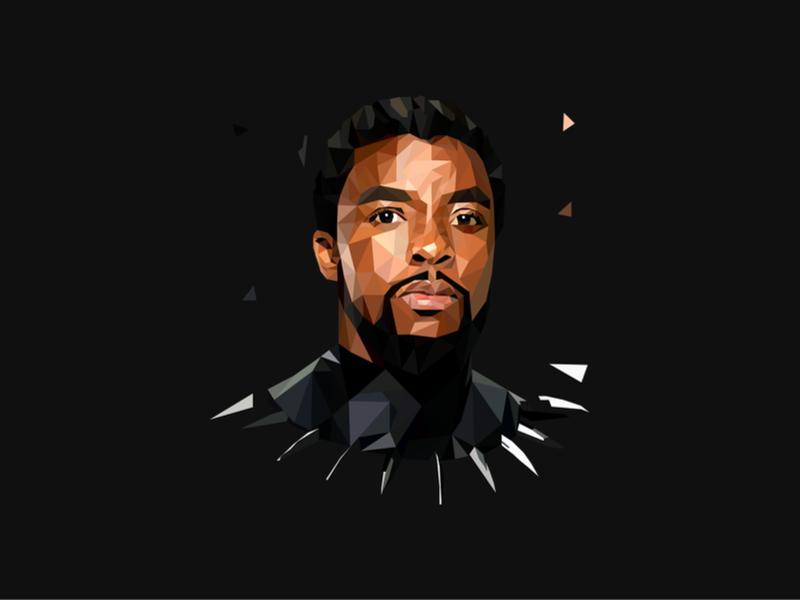 Chadwick Boseman Low Poly Art