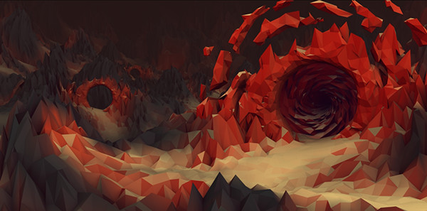Molten Cave Low Poly Art