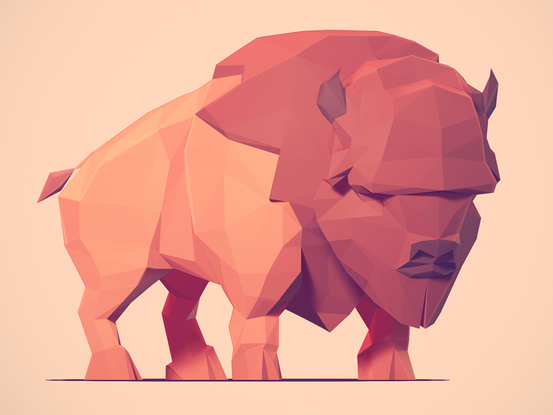 low poly art bison