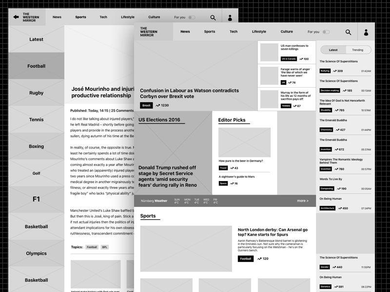 Newspaper Website Wireframe