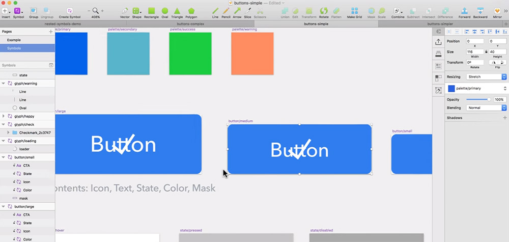 buttons nested symbols