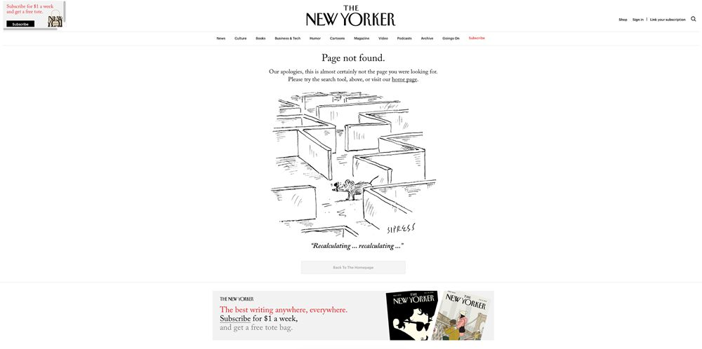 404 web page design New Yorker