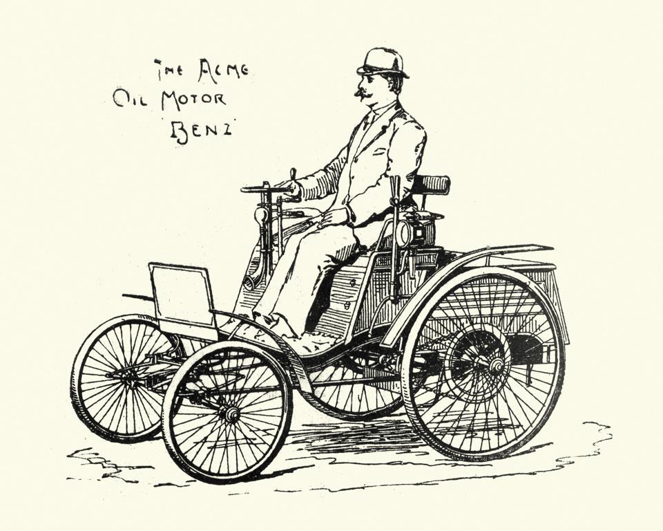 Victorian horseless carriage Acme Oil Motor Benz Car