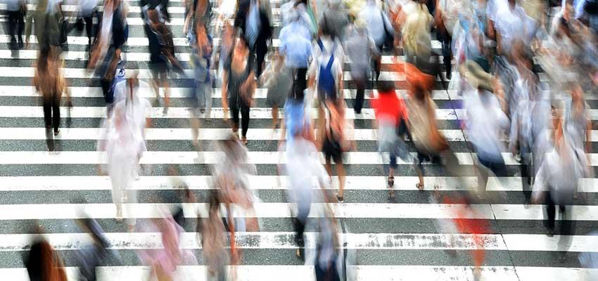 Busy pedestrians walking