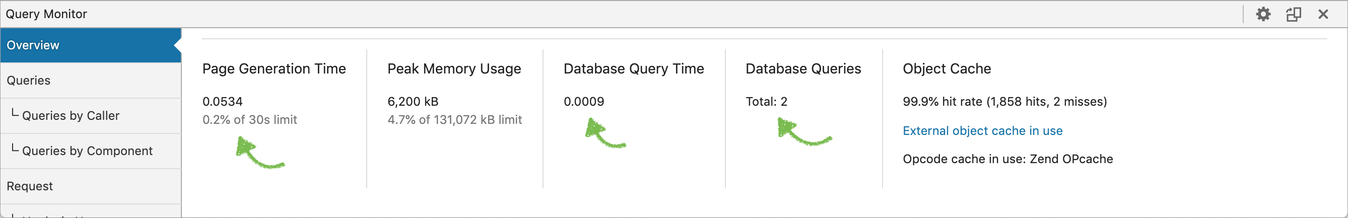Object cache enabled