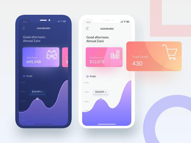 Sales Dashboard iOS 11 App Design