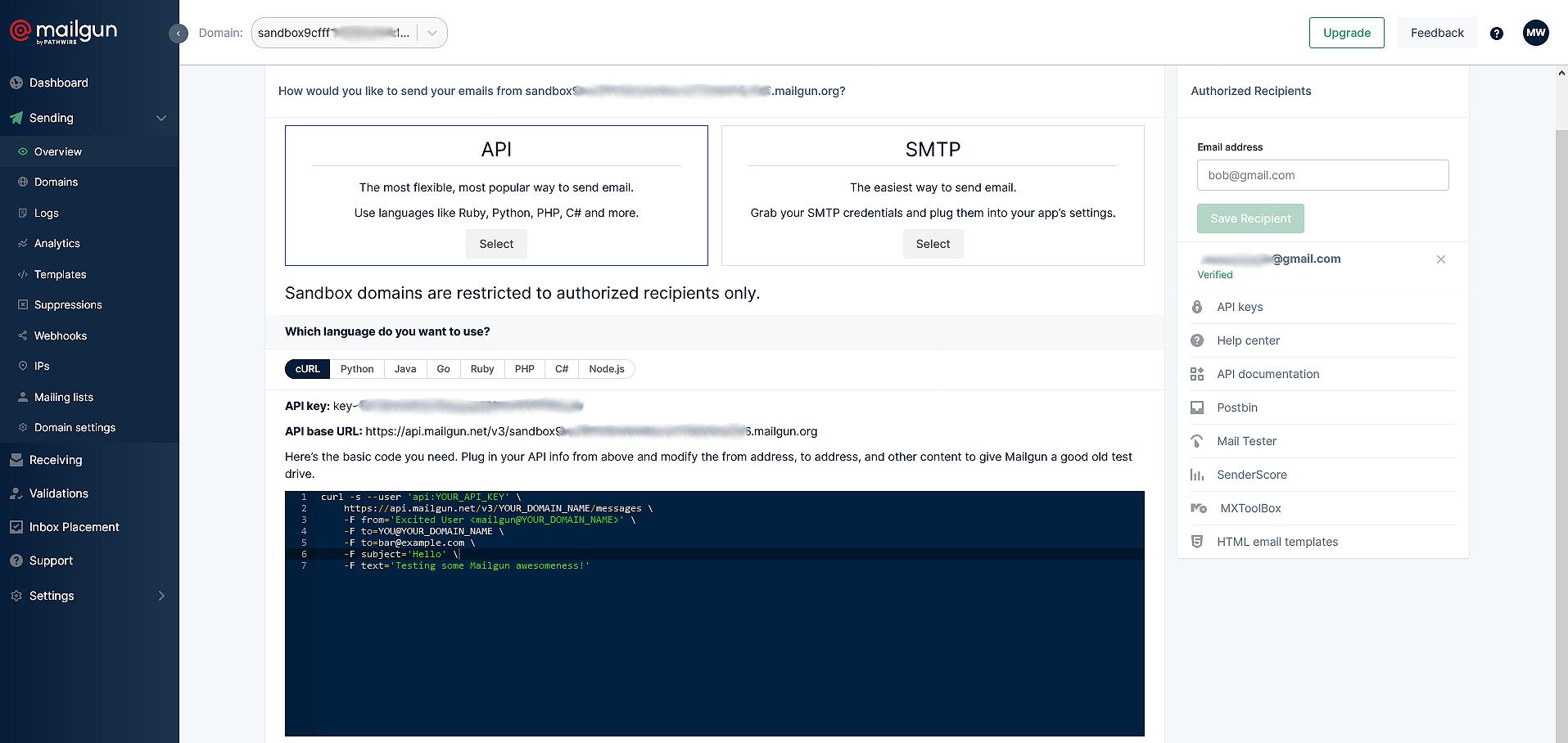 sandbox sending domain setup