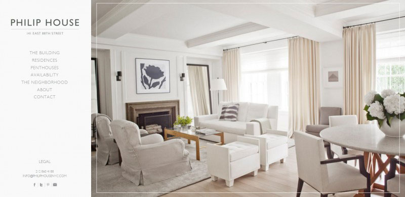 The use of lots of white space in the case of Philip House highlights its image and attracts attention.