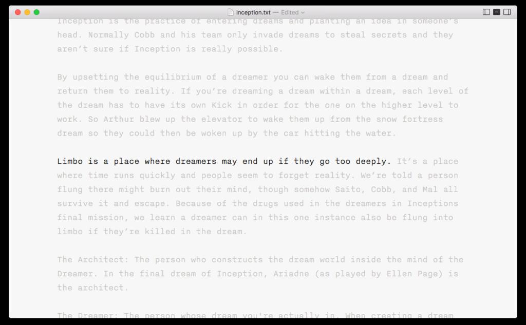 A screen shot of the IA Writer editor