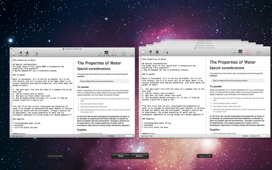 A screen shot of the Markdown Pro editor