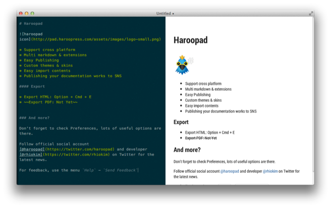 A screen shot of the Haroopad editor
