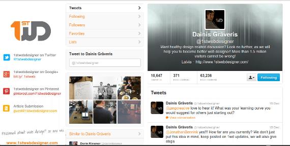 1stWebDesigner Twitter Profile