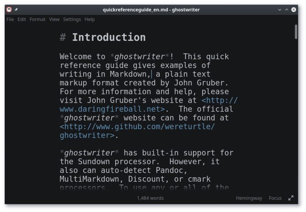 Ghostwriter Markdown editor screenshot