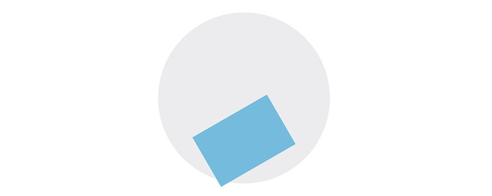 Grey circle showing a blue rectangle on top rotated counter-clockwise.