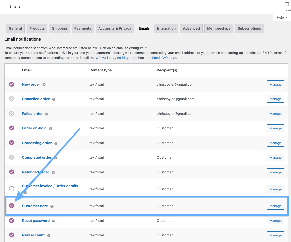 The email notification settings screen in WooCommerce settings showing a list of notifications and one highlighted for a custom note notification.