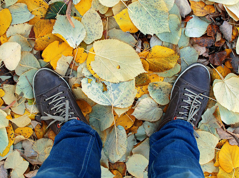 Man-Feet-On-Fallen-Leaves-Stock-Photo-Autumn-walk Free autumn background images to use in designs this fall