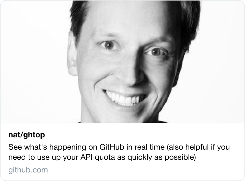 Screenshot of an old Twitter preview for GitHub repo links
