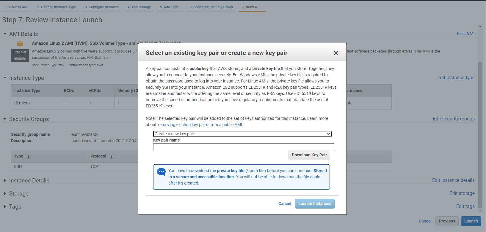 Create new SSH key pair